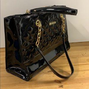 Anne Klein Black Patent quilted handbag